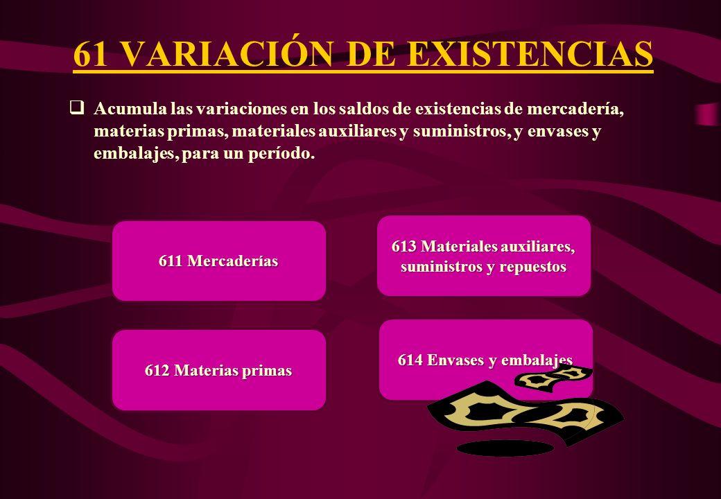 61 VARIACIÓN DE EXISTENCIAS