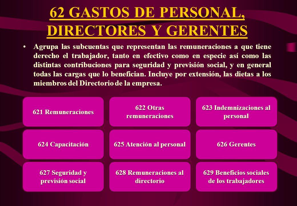 62 GASTOS DE PERSONAL, DIRECTORES Y GERENTES