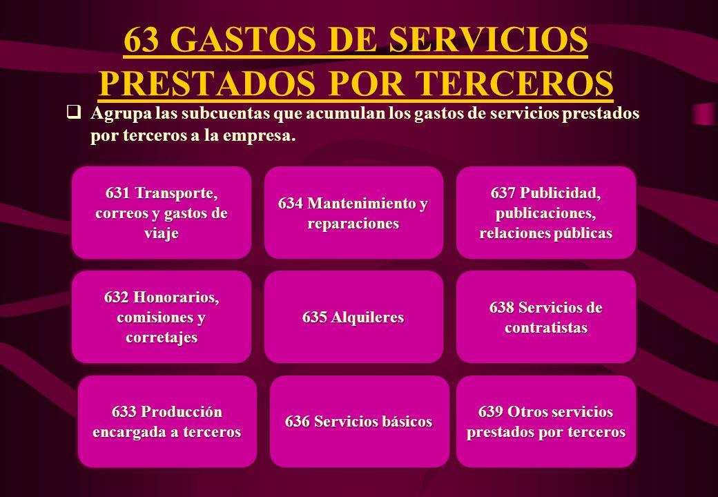 63 GASTOS DE SERVICIOS PRESTADOS POR TERCEROS