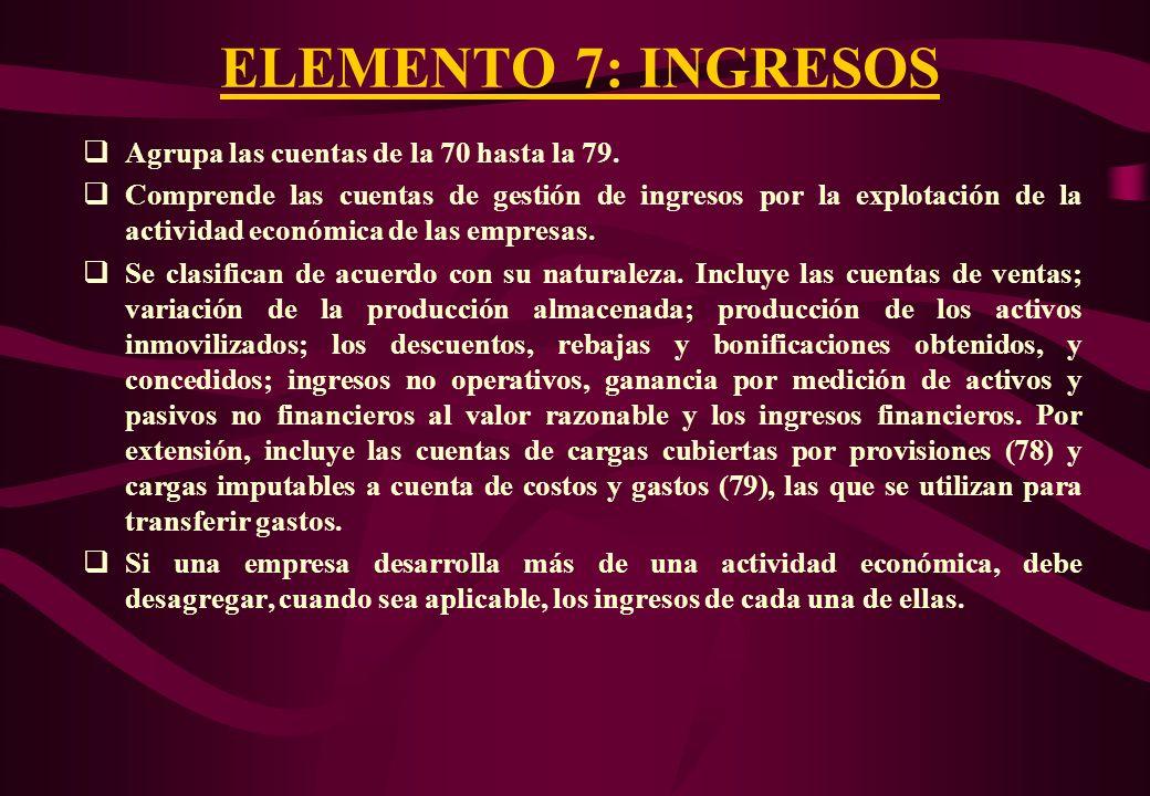 ELEMENTO 7: INGRESOS Agrupa las cuentas de la 70 hasta la 79.