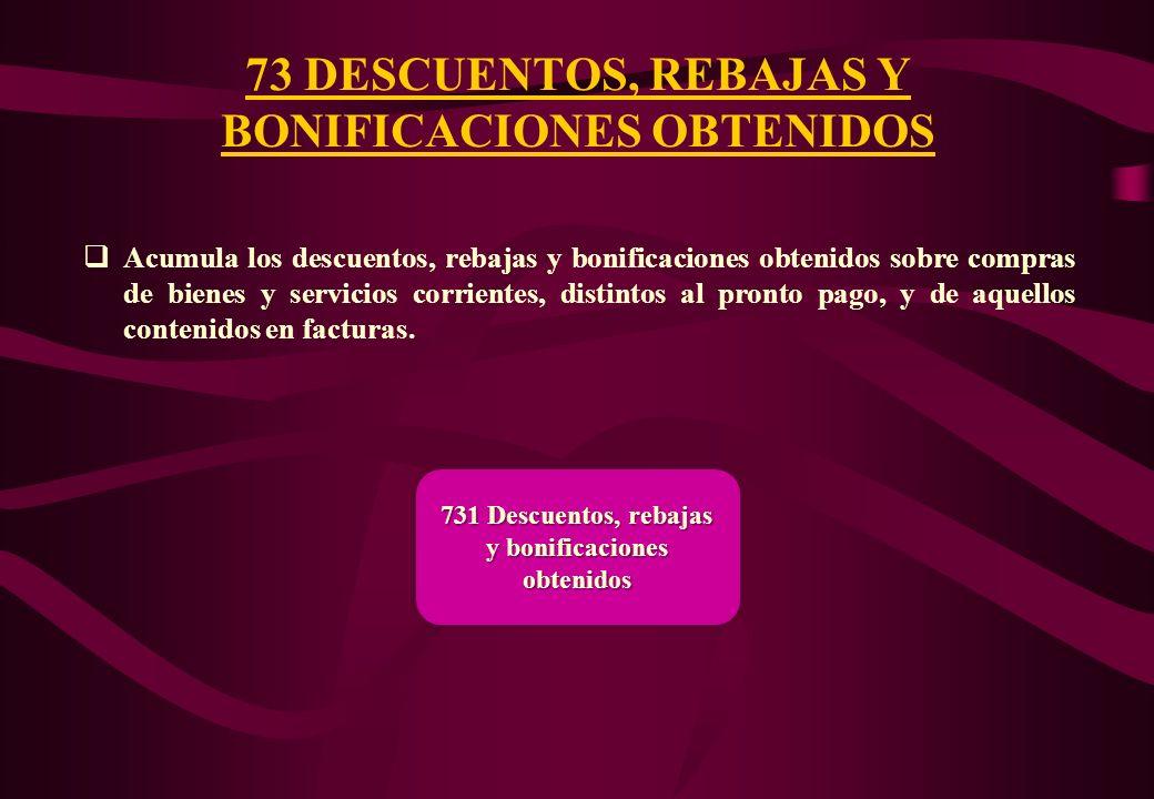 73 DESCUENTOS, REBAJAS Y BONIFICACIONES OBTENIDOS
