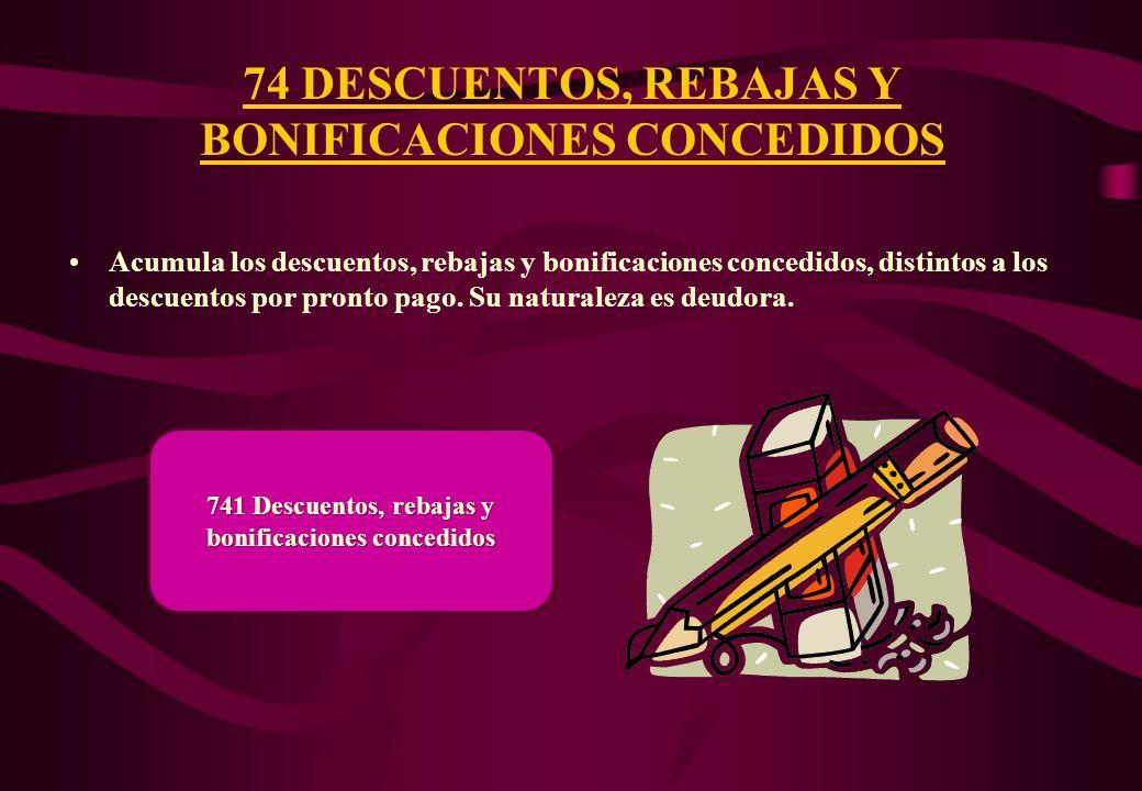 74 DESCUENTOS, REBAJAS Y BONIFICACIONES CONCEDIDOS