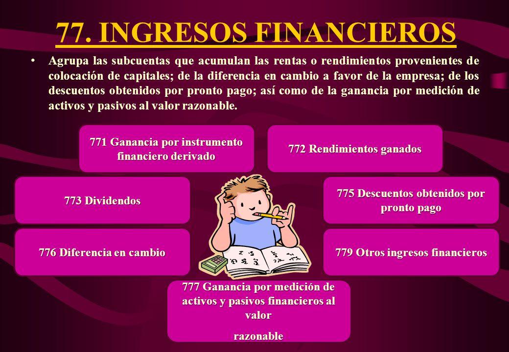77. INGRESOS FINANCIEROS