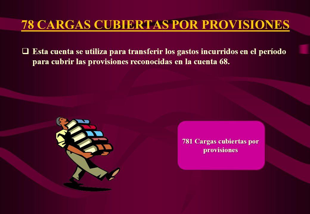 78 CARGAS CUBIERTAS POR PROVISIONES