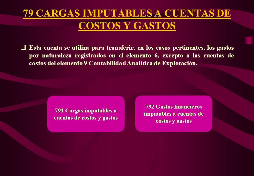 79 CARGAS IMPUTABLES A CUENTAS DE COSTOS Y GASTOS