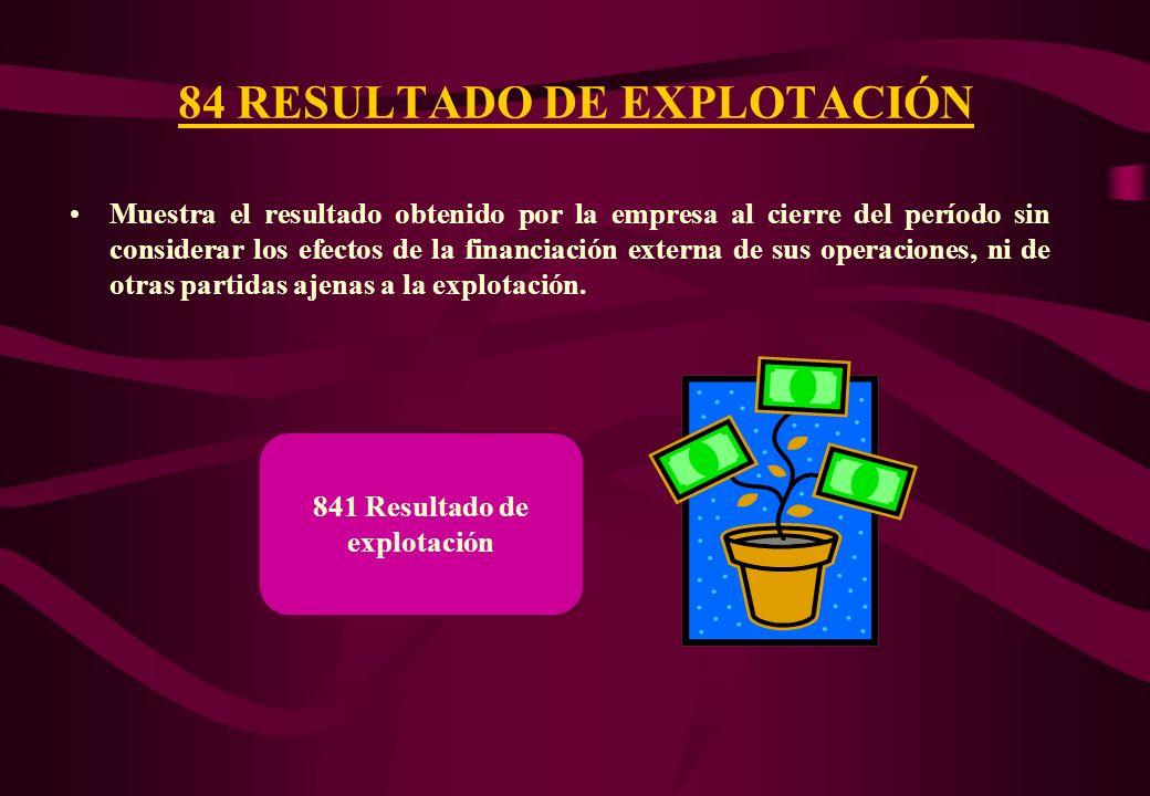 84 RESULTADO DE EXPLOTACIÓN