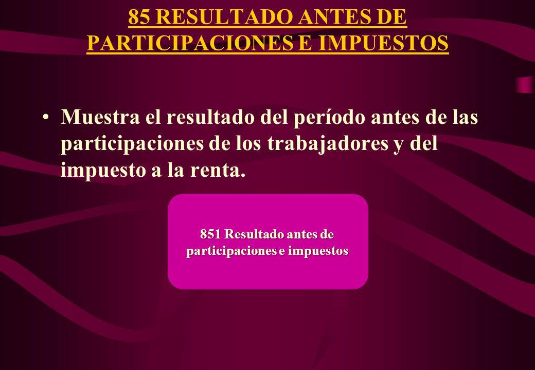 85 RESULTADO ANTES DE PARTICIPACIONES E IMPUESTOS