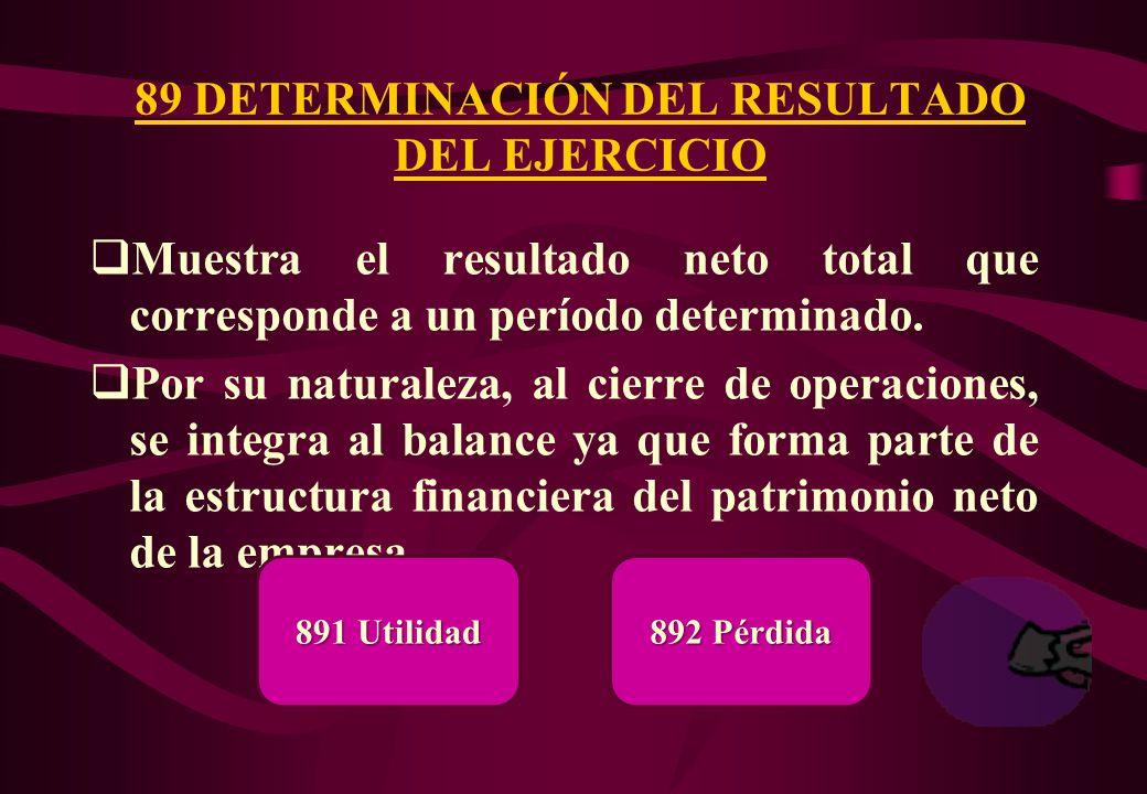 89 DETERMINACIÓN DEL RESULTADO DEL EJERCICIO