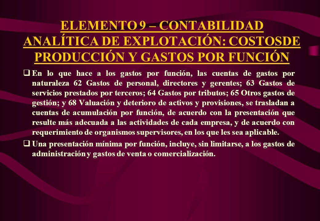 ELEMENTO 9 – CONTABILIDAD ANALÍTICA DE EXPLOTACIÓN: COSTOSDE PRODUCCIÓN Y GASTOS POR FUNCIÓN