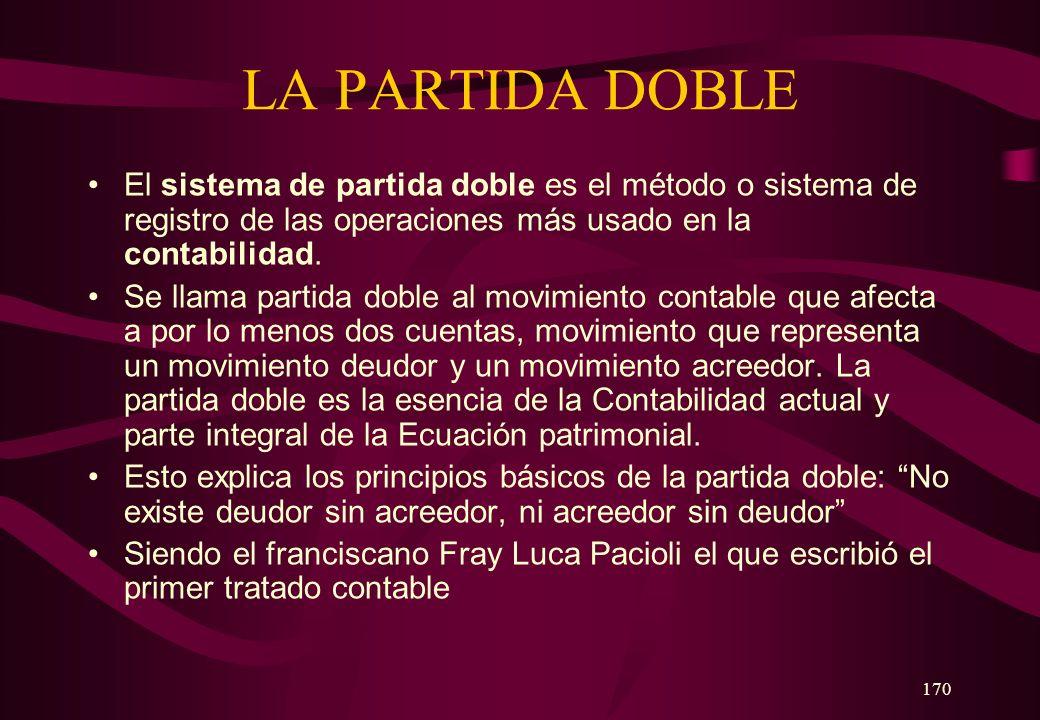 LA PARTIDA DOBLE El sistema de partida doble es el método o sistema de registro de las operaciones más usado en la contabilidad.