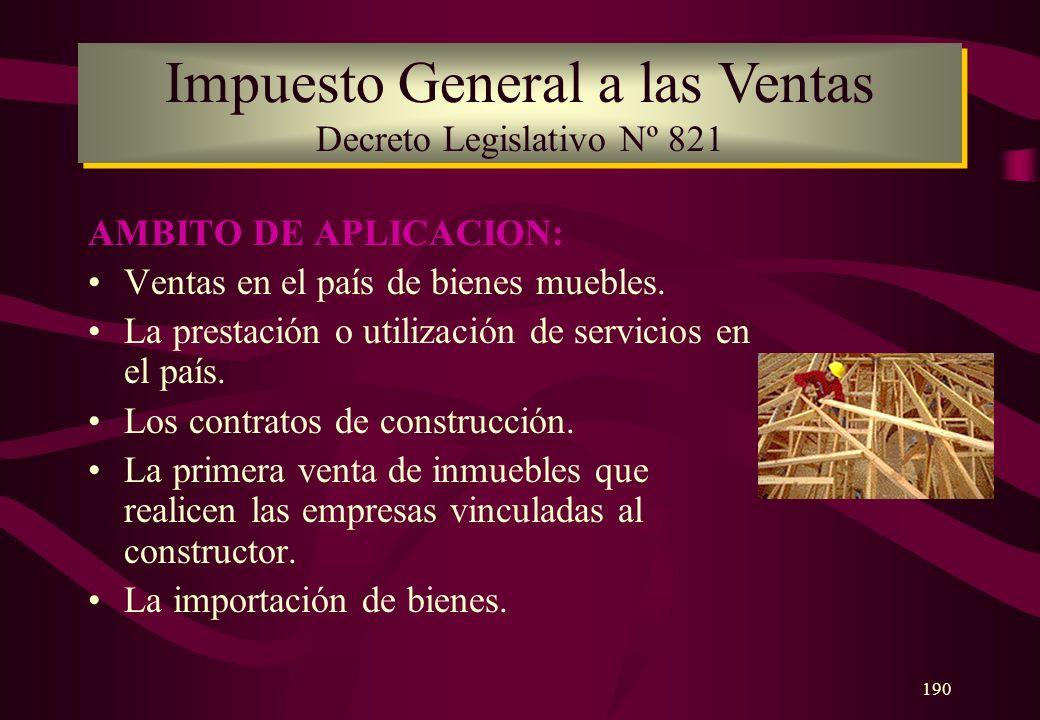 Impuesto General a las Ventas Decreto Legislativo Nº 821