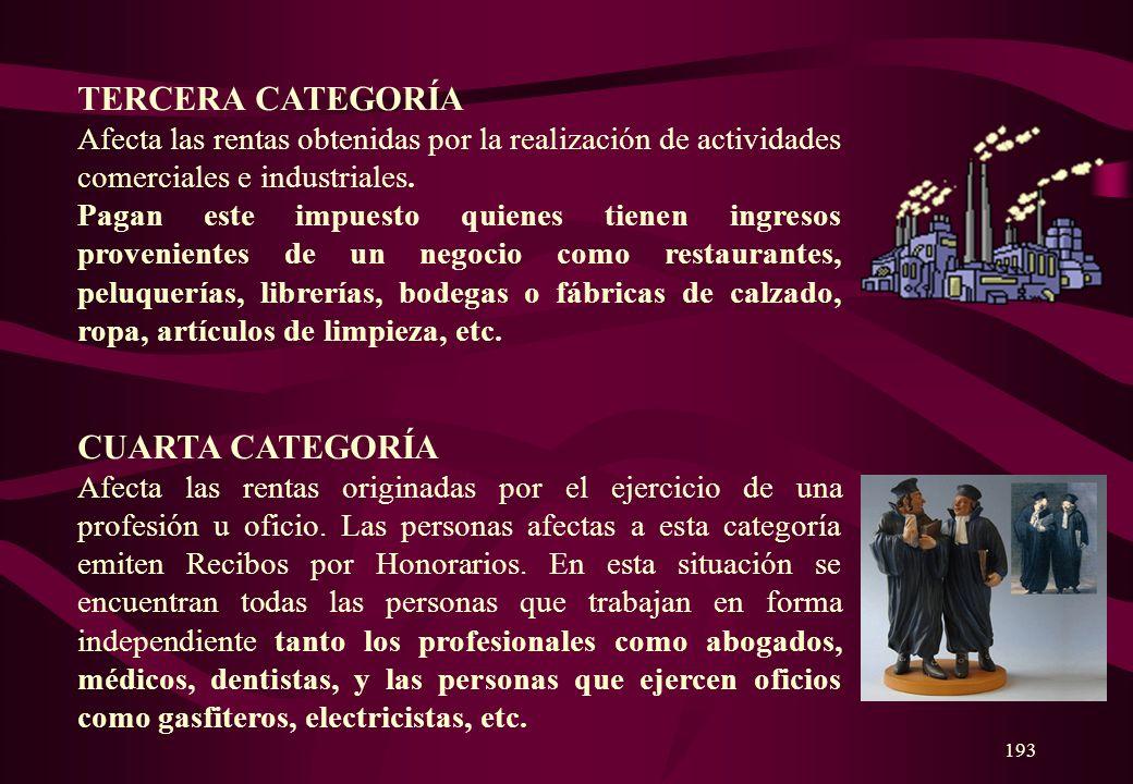 TERCERA CATEGORÍA CUARTA CATEGORÍA