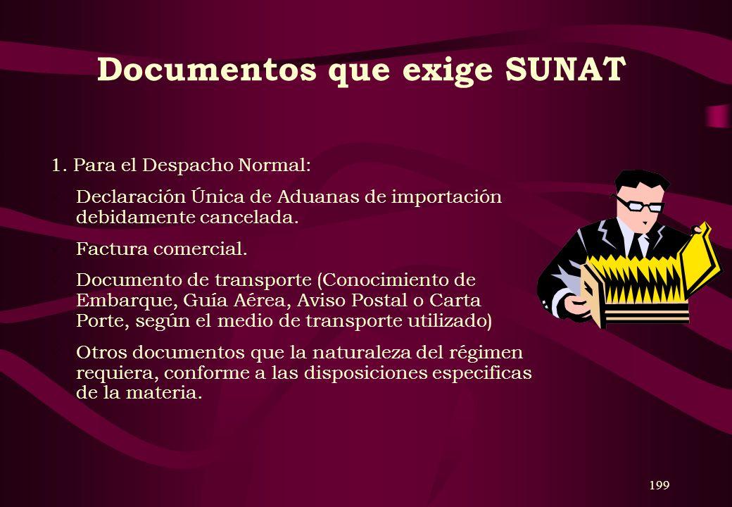 Documentos que exige SUNAT