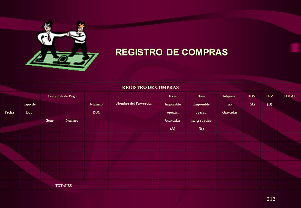 REGISTRO DE COMPRAS 212 REGISTRO DE COMPRAS Comprob. de Pago