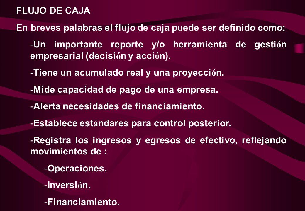 FLUJO DE CAJA En breves palabras el flujo de caja puede ser definido como: