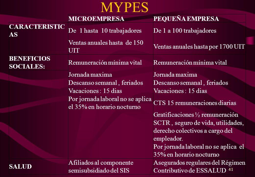MYPES MICROEMPRESA PEQUEÑA EMPRESA CARACTERISTICAS