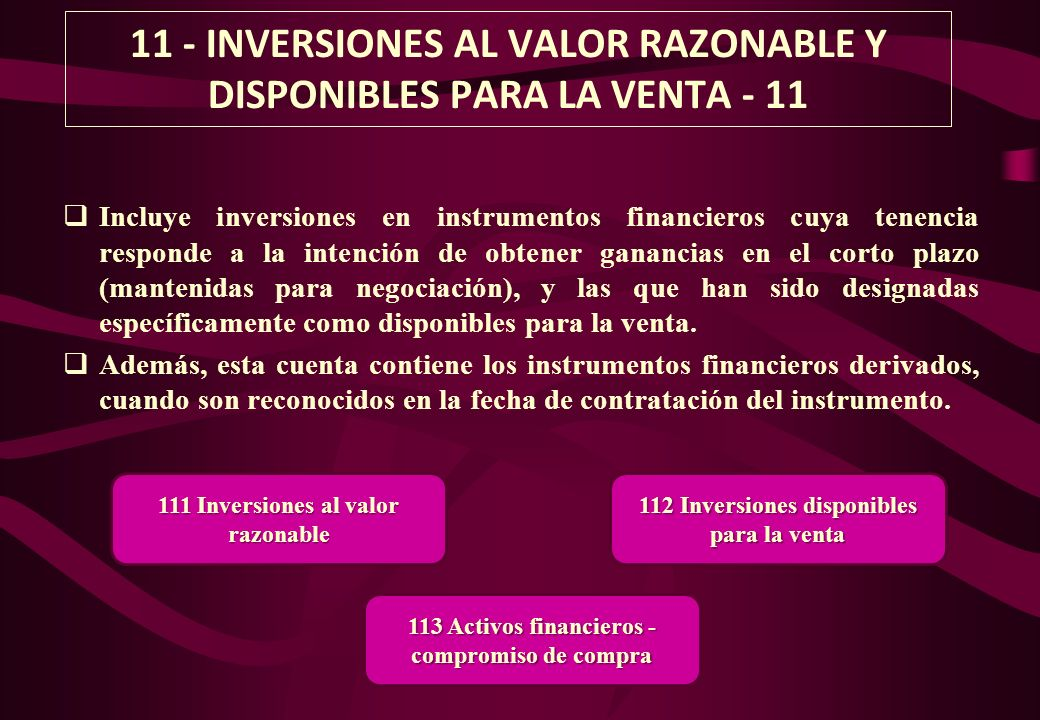 11 - INVERSIONES AL VALOR RAZONABLE Y DISPONIBLES PARA LA VENTA - 11
