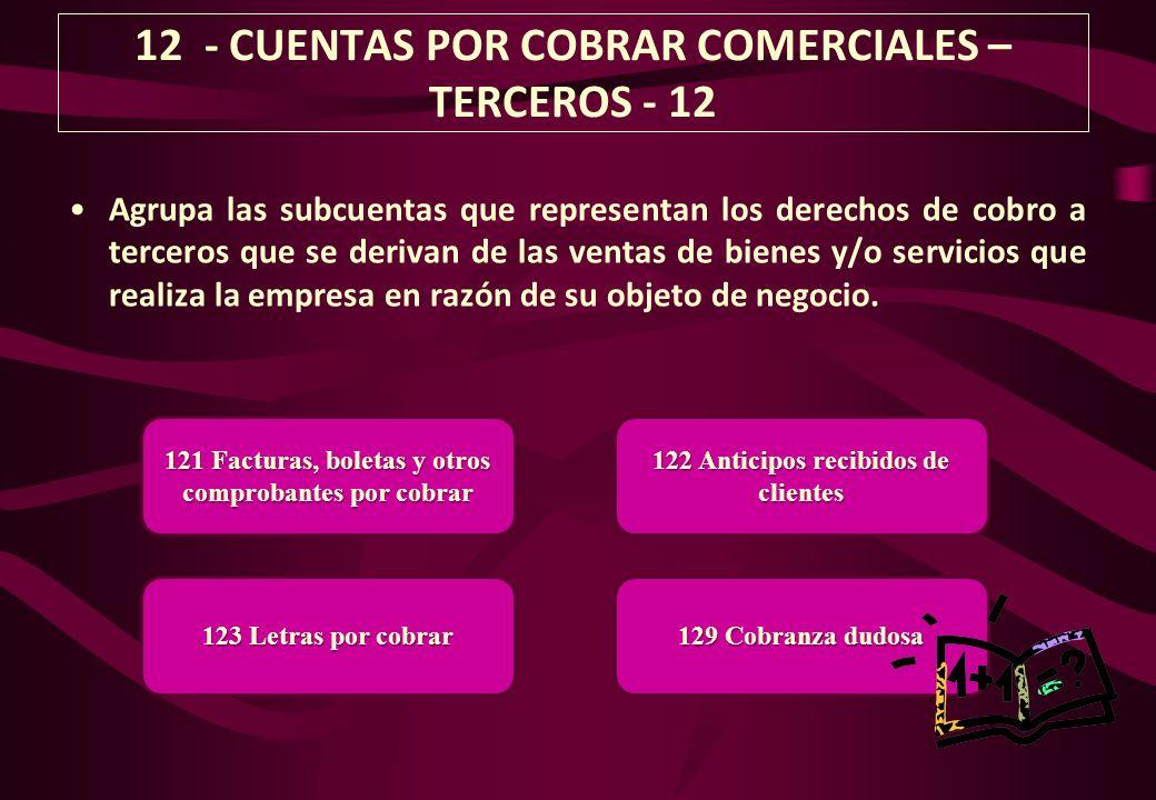 12 - CUENTAS POR COBRAR COMERCIALES – TERCEROS - 12