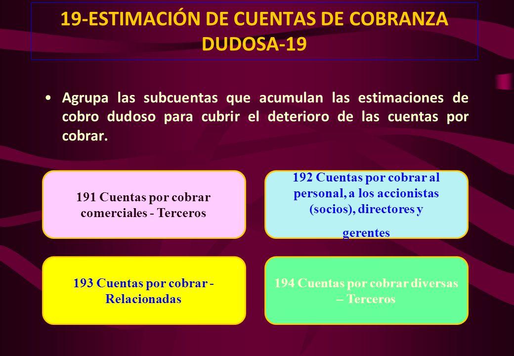 19-ESTIMACIÓN DE CUENTAS DE COBRANZA DUDOSA-19
