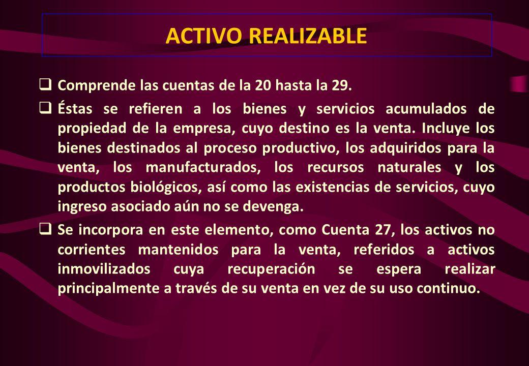 ACTIVO REALIZABLE Comprende las cuentas de la 20 hasta la 29.