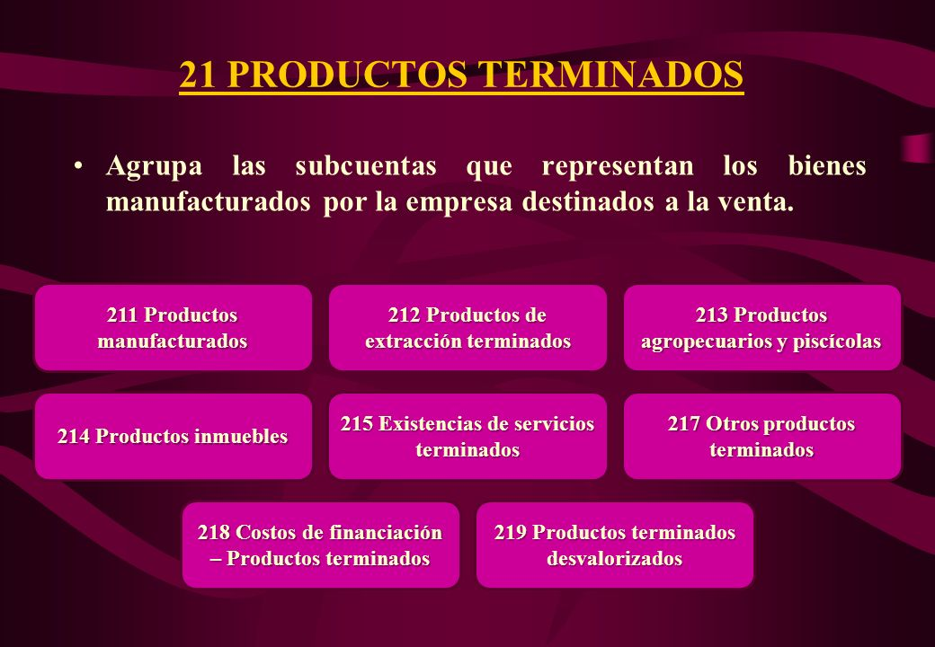21 PRODUCTOS TERMINADOS Agrupa las subcuentas que representan los bienes manufacturados por la empresa destinados a la venta.