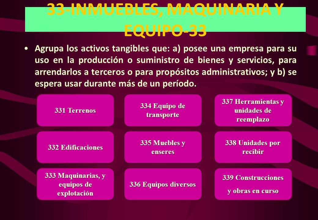33-INMUEBLES, MAQUINARIA Y EQUIPO-33