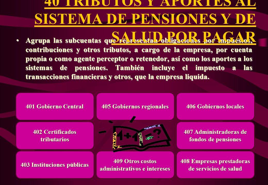 40 TRIBUTOS Y APORTES AL SISTEMA DE PENSIONES Y DE SALUD POR PAGAR