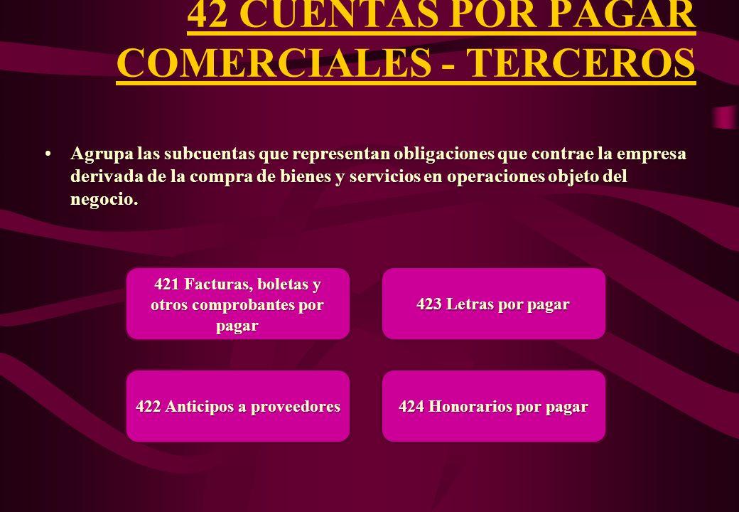 42 CUENTAS POR PAGAR COMERCIALES - TERCEROS