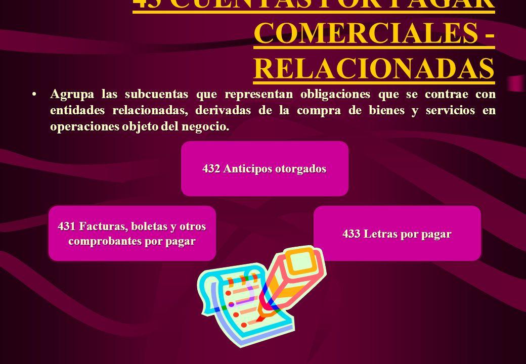 43 CUENTAS POR PAGAR COMERCIALES - RELACIONADAS
