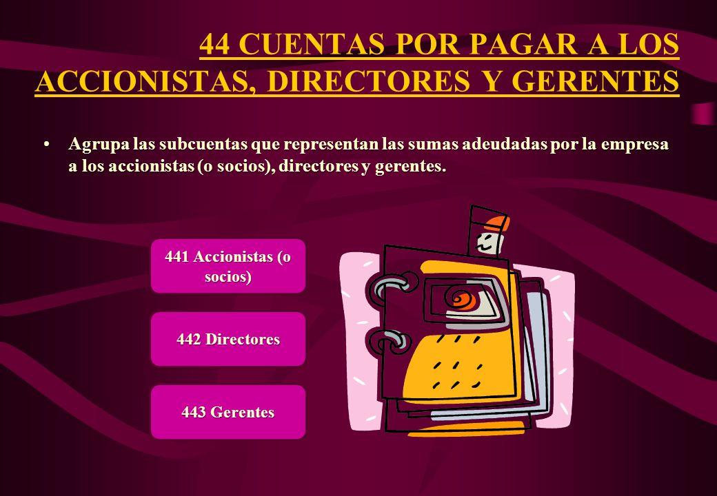 44 CUENTAS POR PAGAR A LOS ACCIONISTAS, DIRECTORES Y GERENTES