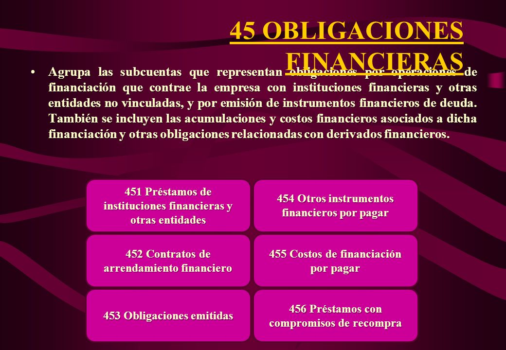 45 OBLIGACIONES FINANCIERAS