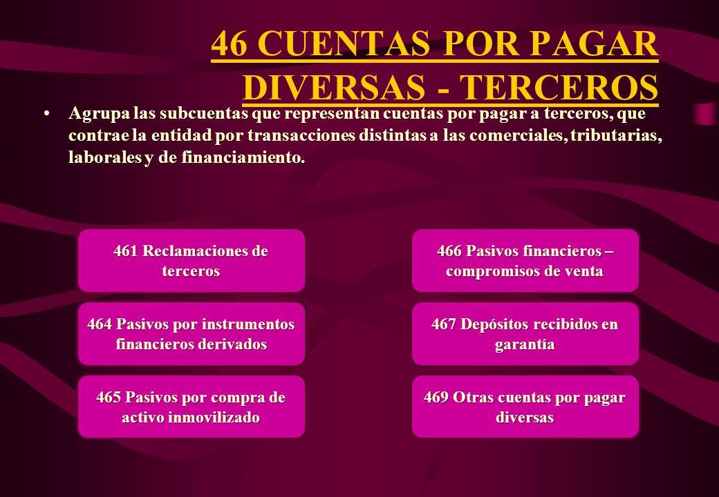 46 CUENTAS POR PAGAR DIVERSAS - TERCEROS