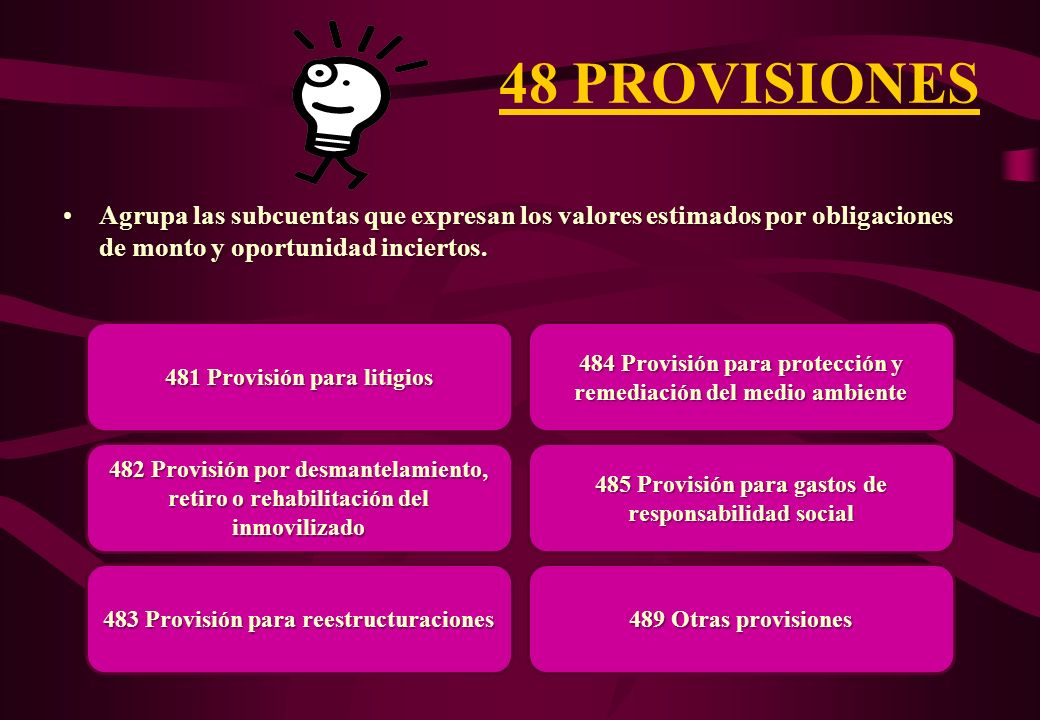 48 PROVISIONES Agrupa las subcuentas que expresan los valores estimados por obligaciones de monto y oportunidad inciertos.