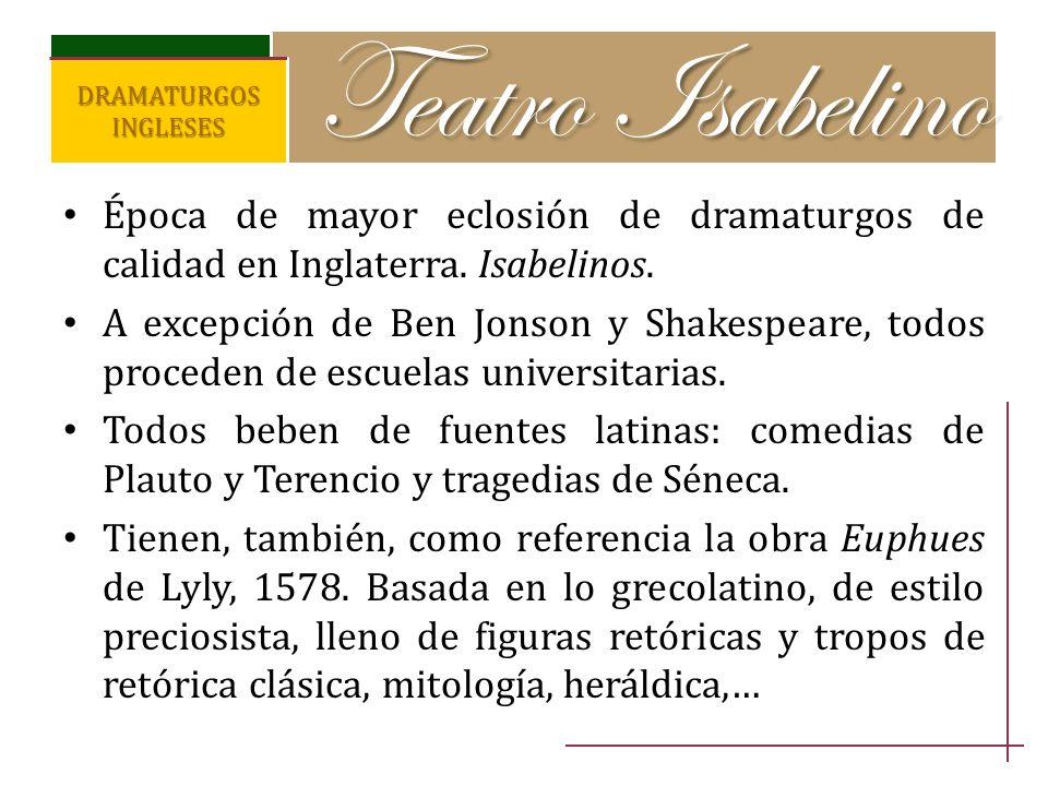 Teatro IsabelinoDRAMATURGOS INGLESES. Época de mayor eclosión de dramaturgos de calidad en Inglaterra. Isabelinos.