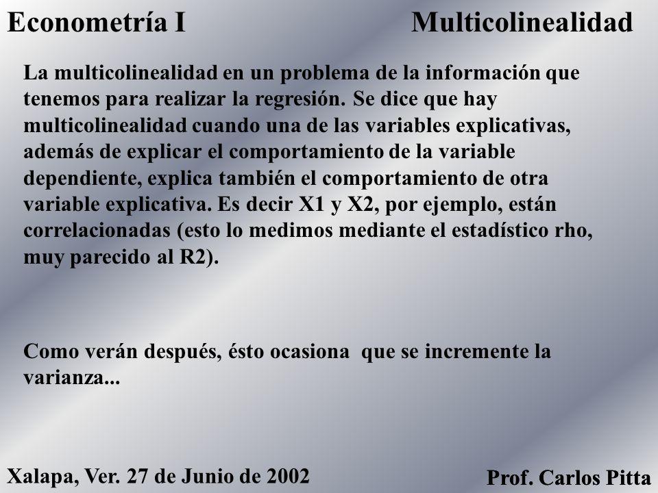 Econometría I Multicolinealidad
