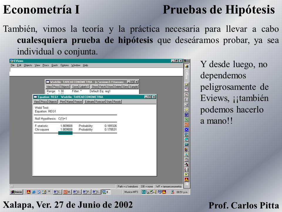Econometría I Pruebas de Hipótesis