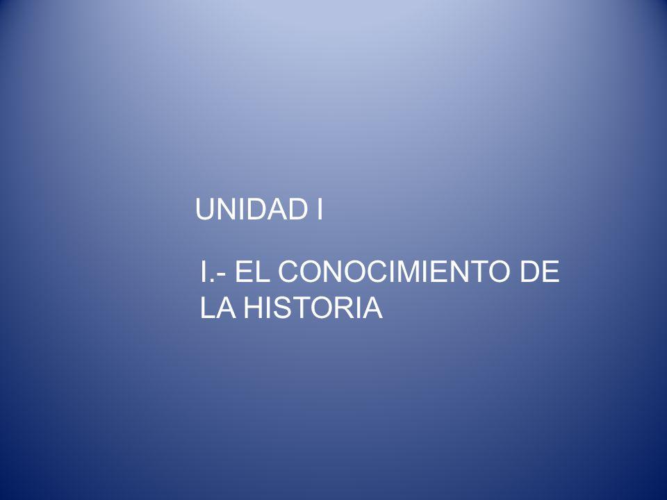 UNIDAD I I.- EL CONOCIMIENTO DE LA HISTORIA