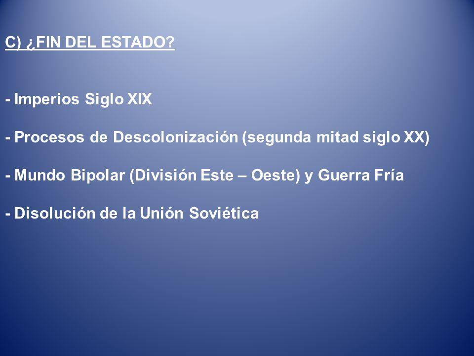 C) ¿FIN DEL ESTADO - Imperios Siglo XIX. - Procesos de Descolonización (segunda mitad siglo XX)