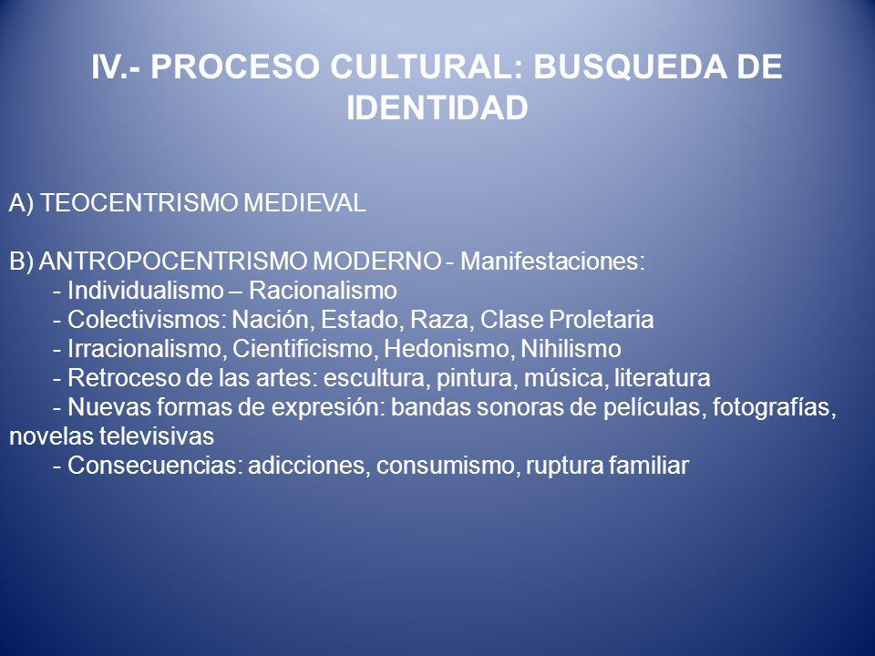 IV.- PROCESO CULTURAL: BUSQUEDA DE IDENTIDAD