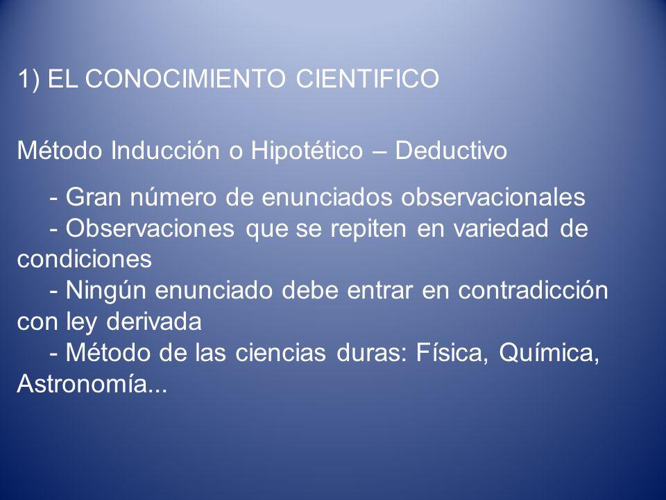 1) EL CONOCIMIENTO CIENTIFICO