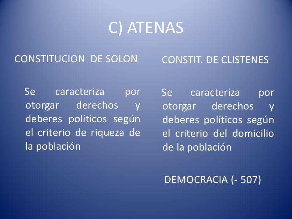 C) ATENASCONSTITUCION DE SOLON Se caracteriza por otorgar derechos y deberes políticos según el criterio de riqueza de la población
