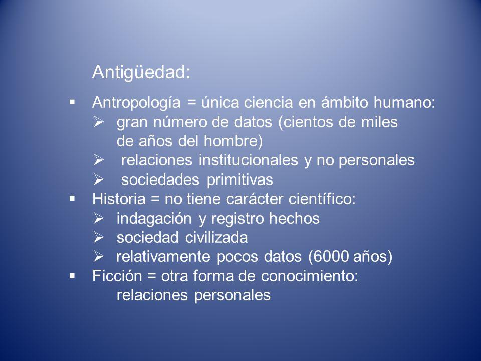 Antigüedad: Antropología = única ciencia en ámbito humano: