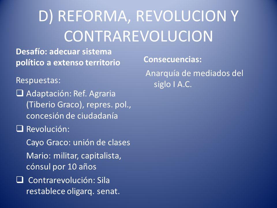 D) REFORMA, REVOLUCION Y CONTRAREVOLUCION