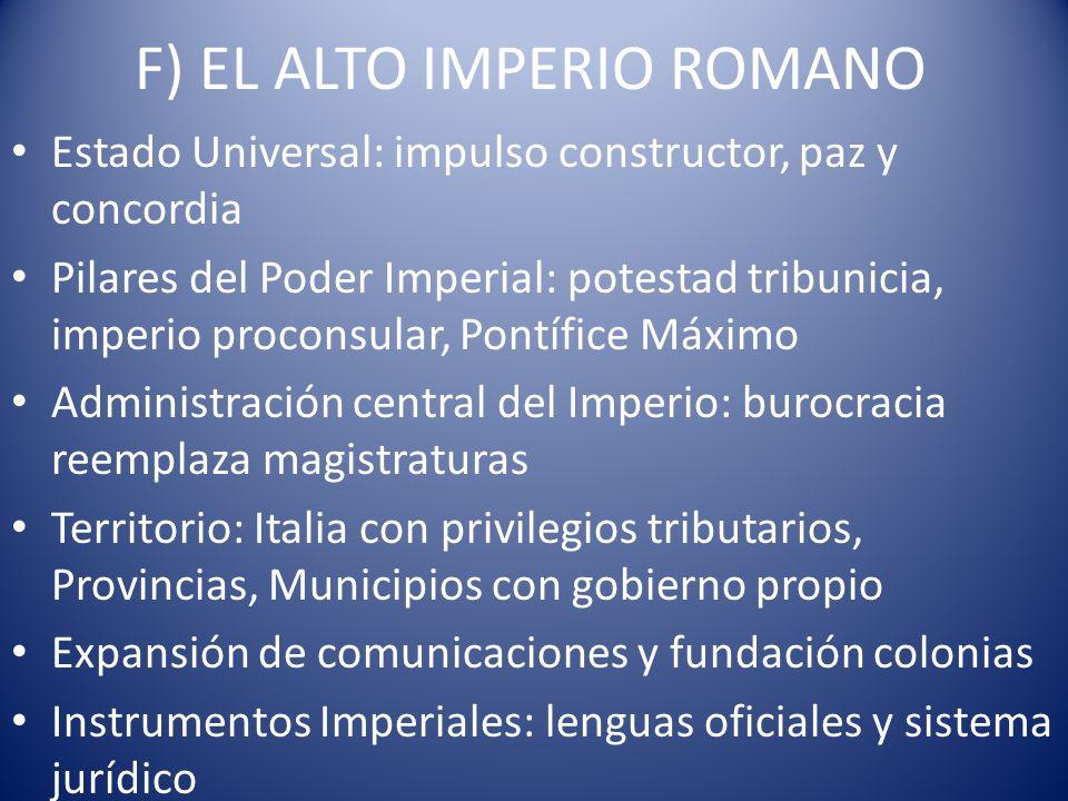 F) EL ALTO IMPERIO ROMANO