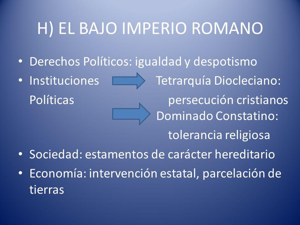 H) EL BAJO IMPERIO ROMANO