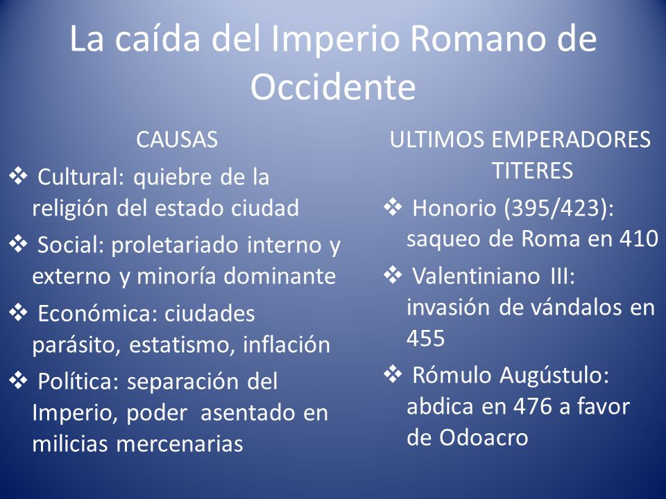 La caída del Imperio Romano de Occidente