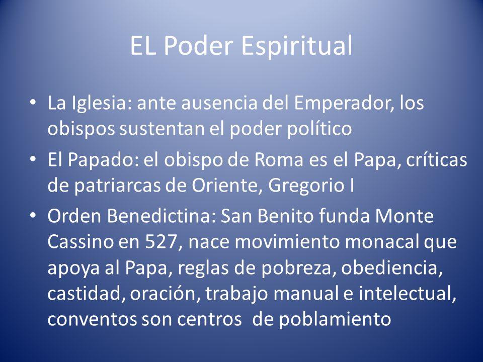 EL Poder EspiritualLa Iglesia: ante ausencia del Emperador, los obispos sustentan el poder político.