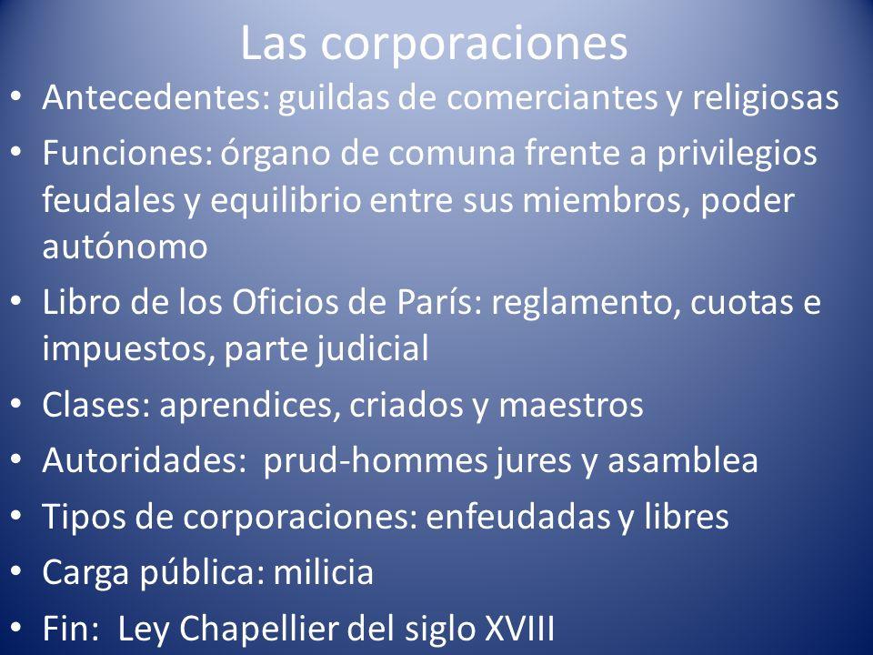 Las corporaciones Antecedentes: guildas de comerciantes y religiosas