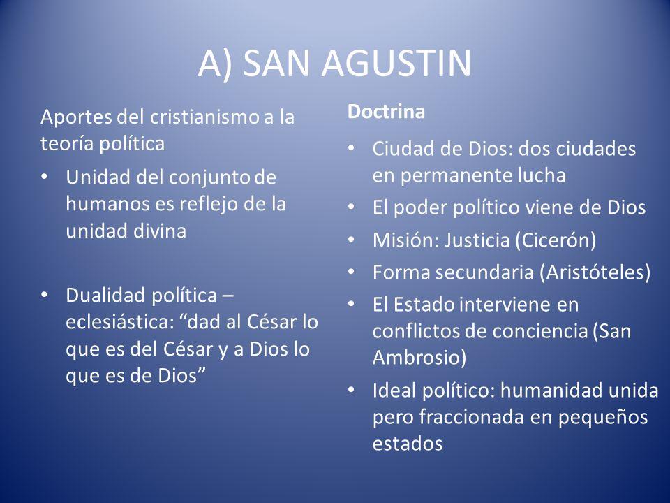 A) SAN AGUSTIN Doctrina Aportes del cristianismo a la teoría política