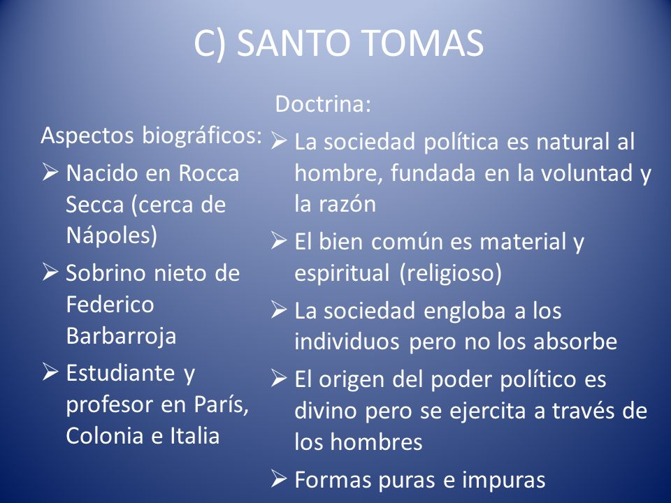 C) SANTO TOMAS Doctrina: